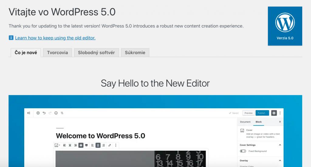 WordPress klasický editor
